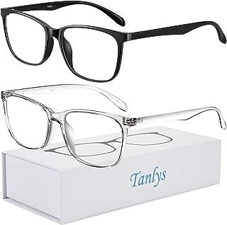 Tanlys 2 Pack Blue Light Blocking Glasses for Computer Eye Strain [Dry Eye & Sour Eye], Anti UV Reduce Headache Lightweight Classic Bluelight Blocker Glasses Men Women (Black+Clear)