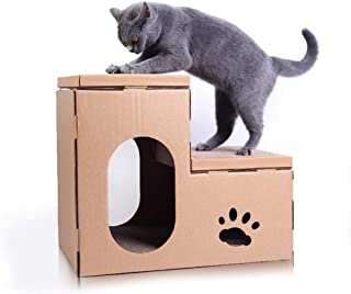 AYJH Cat Bed Corrugated Cat Litter Cat Scratch Board Recyclable Cardboard DIY Assembled Two-Story Cave Durable Green Cat Lounge Activity Center,A