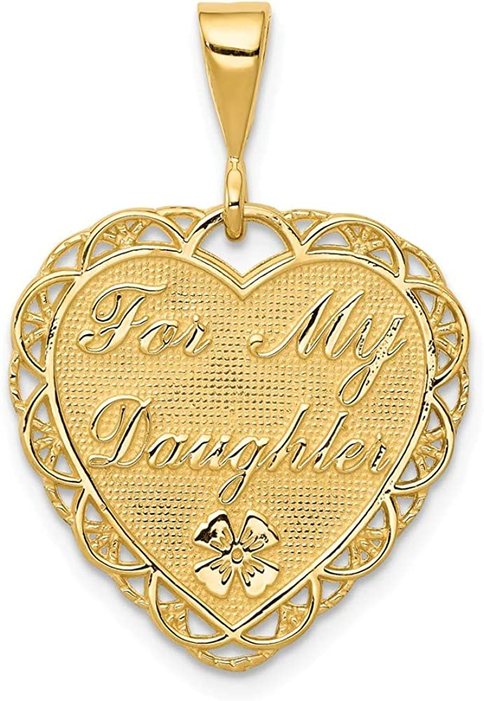 Solid 14k Yellow Gold For My Daughter Charm Pendant - 29mm x 20mm