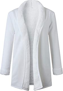 SZIVYSHI Winter Thick Warm Long Sleeve Buttonless Plush Faux Fur Loose Fit Cardigan Duster Coat Overcoat Jacket Top White