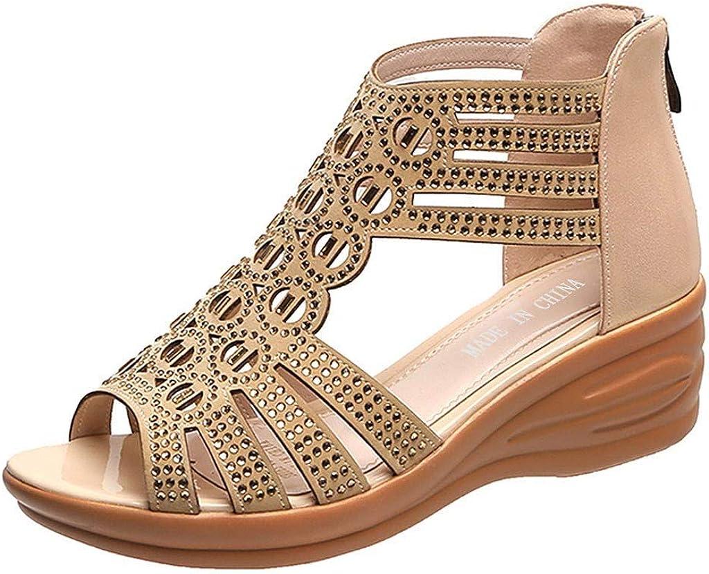 RQWEIN Women's Jewel Rhinestones Design Ankle High Flat Sandals Gladiator Sandals Rhinestone Flat Sandals Thong Sandals