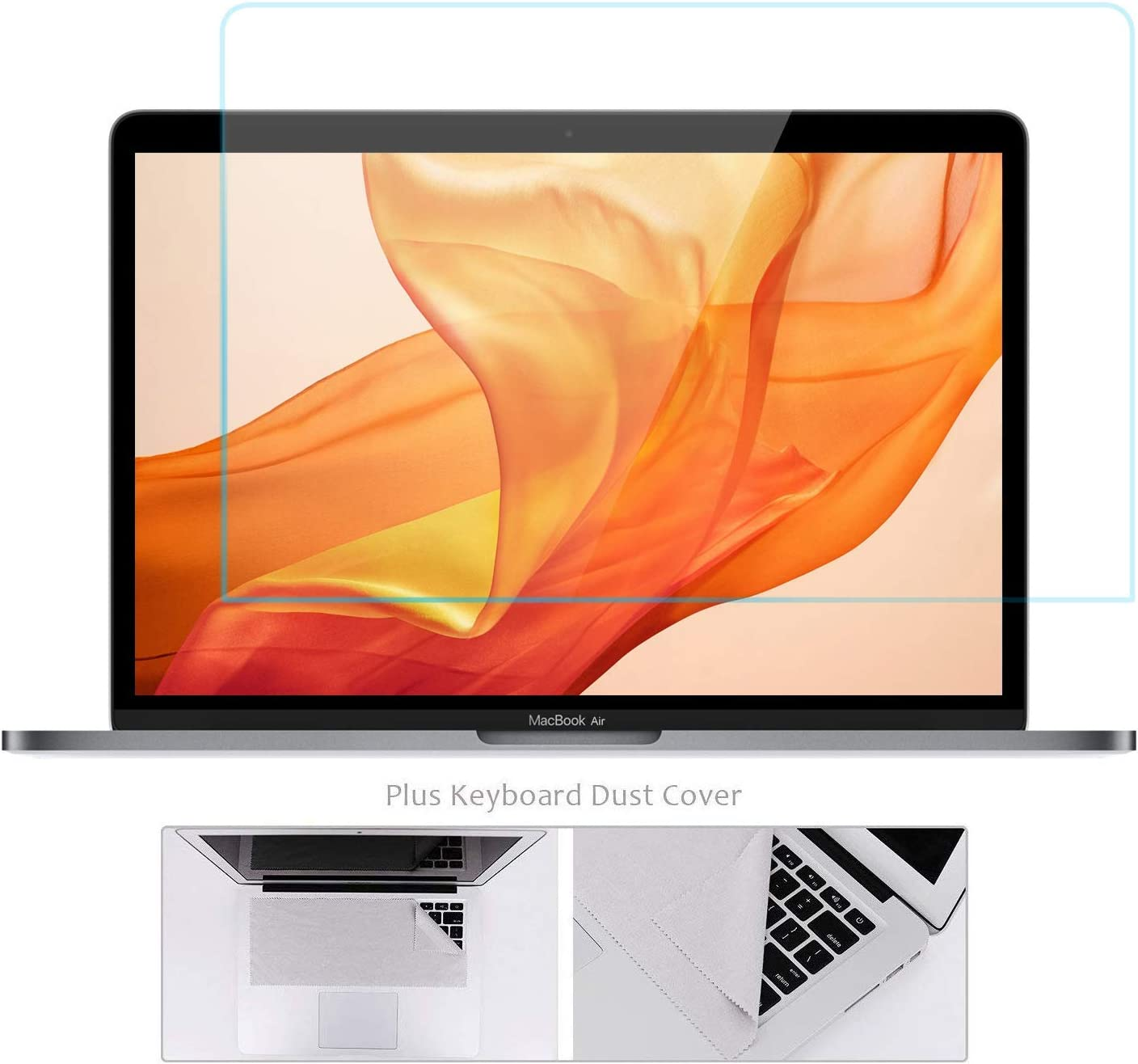 Tempered Glass Screen Protector Compatible with 2019 2018 MacBook Air 13 with Touch ID A1932 with Gift Microfiber Keyboard Cover Cloth/2016-2019 New MacBook Pro 13 Model A2159 A1706 A1708 A1989 A2338