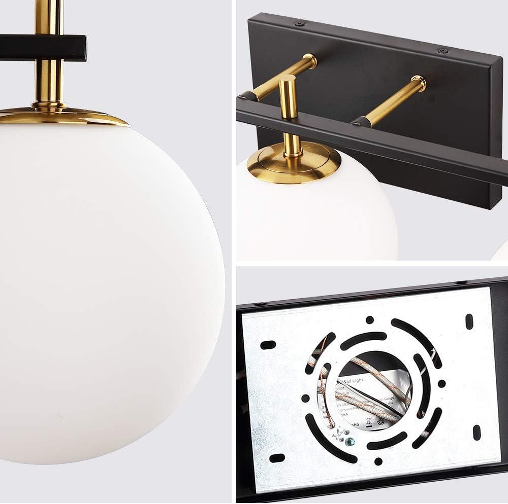 G9 Lamp Base 1-Light Plug-in or Hardwired Modern Wall Sconce Bathroom Wall Lighting Fixture Milk White Glass Shade Matte Black Finish