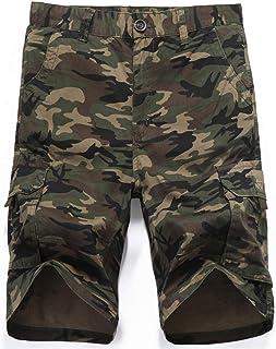 LY4U Hombres Camuflaje táctico multibolsillo Pantalones Cortos Loose Fit Algodón Cargo Moda Casual Pantalones Cortos