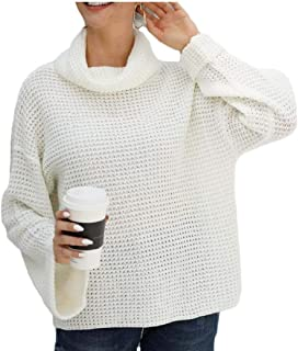 Womens Oversized Turtleneck Sweater Long Bell Sleeve Loose Knit Pullover Jumper Top
