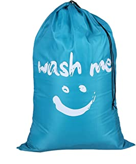 Queenbox Extra Large Durable Nylon Laundry Bag with Drawstring Closure, 24 x 36in Dirty Clothes Storage Bag for Home Laundromat Travel Bag, Blue