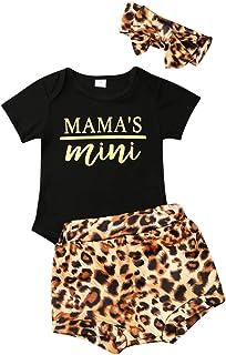 Geagodelia - Conjunto de ropa para bebé niña con estampado de manga corta + pantalón estampado floral + diadema