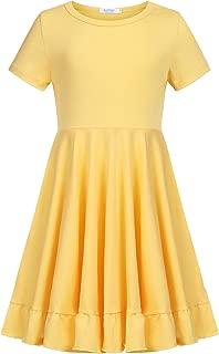 Girls Dress Short Sleeve Cotton Loose Twirly Skater Party Dresses Upgrade