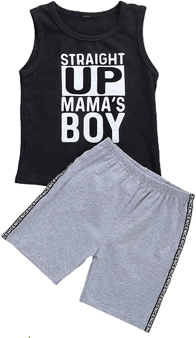 MUNIMINI Mama's Boy Toddler Boys Sleeveless Tank Vest Top and Ripped Jeans Short Outfit