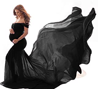 YiYLunneo Pregnant Photography Dress Women Long Maxi Off Shoulder Gown Photo Shoot Maternity Ruffles Dress Baby Shower