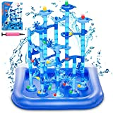 GOGODATE Blue Marble Run with Water Mat Upgrade Marble Run Set for Kids Marble Race Track Gift for Children Age 3 Year and Up STEM Learning Toy