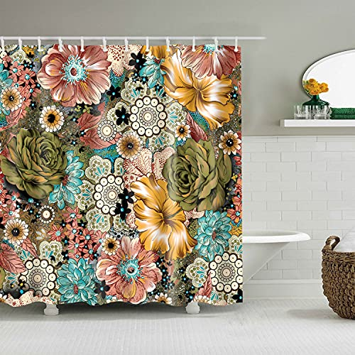 SIMANI Bohemian Shower Curtain Pattern on Geometric Rhombus Bathroom Curtain Waterproof Fabric Bath Hooks Machine Washable 72x72 Inches (Colorful Mandala Flowers)