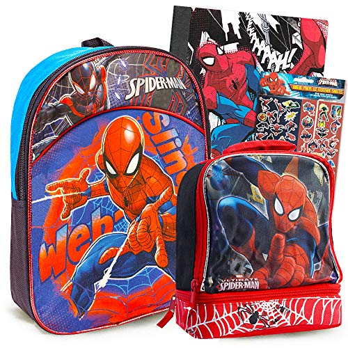 Spiderman Backpack and Lunch Box for Boys Kids, 4 Pc Set -- Bundle Includes Deluxe Spider-man Mini Backpack, Insulated Lunchbox, Notebook, Stickers (Spiderman School Supplies)