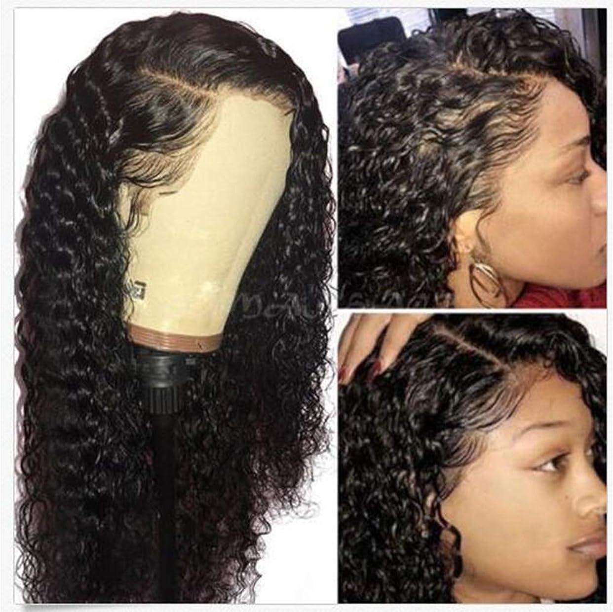 別のモールス信号絶え間ない女性レースフロント人毛ウィッグウォーターウェーブウィッグベビーヘアー180%密度黒かつら 56cm