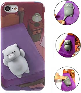 Case For LG K10 2018, QKKE 3D Poke Squishy Cat Seal Panda Polar Bear Squeeze Stretch Compress Stress Reduce Relax Soft Silicone Relief Case for LG K10 2018 / LG K30 (Cat Purple)
