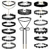 JewelryWe Gioielli Girocollo Nero del Velluto, Pelle Girocollo da Donna, Pizzo Lace Choker Gothic Retro, Tatuaggio Collana Nera Set di 5 Pezzi