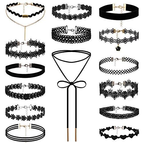 JewelryWe 15 Piezas de Gargantillas Negra de Terciopelo, Collares para Mujer Jóven, Choker Gótica Retro Vintage, Tatuaje Collar Negro