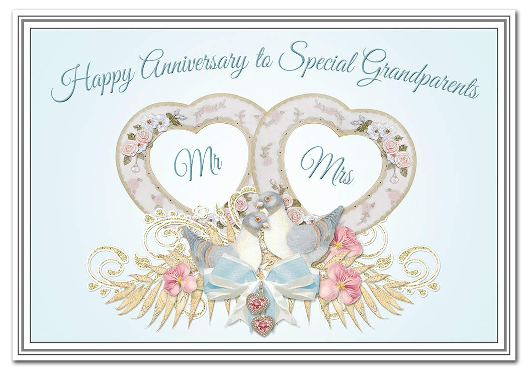 Grandparents Anniversary Cards Wedding Anniversary Greeting Card Special Keepsake Quality Blank Inside To Write Own Message Happy Wishes Turtle Doves Theme Amazon Co Uk Office Products