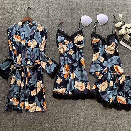 YUHOOE Damen Nachtwäsche Set,Sommer 4 Pcs Set Frauen Seide Sexy Camisole Nachthemd Robe Anzug Drucken Pyjamas Spitze Nachtwäsche Mit Pad Frau Satin Pyjamas Blu, M.