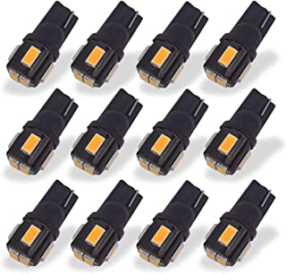 CYTHERIA 194 LED Bulbs 6000K Xenon White Extremely Bright 5630 Chipsets 168 2825 175 T10 W5W LED Replacement Bulbs for Car Interior Dome Map Door Courtesy License Plate Lights(Pack of 10) (Yellow)