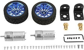 DC 6V 280RPM 25GA370 Encoder Motor Set 4mm Shaft DC Gear Motor with Mounting Bracket 65mm Wheel Kits for Smart Car Robot DIY