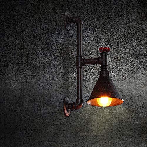 SANTITY Luz de Pared Retro Vintage Metal Aplique Pared Tubería de Agua Diseño Corredor Luminaria Interior Decoración Iluminación para Barra de Cocina Dormitorio, Casquillos E27, H51 × 16CM