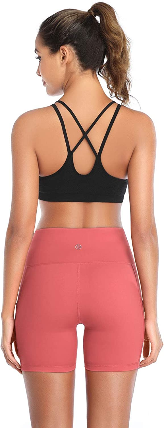 DAYOUNG Women Yoga Shorts High Waist Tummy Control Non See-Through Workout Running Athletic Legging Short with Pockets