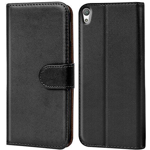 Verco Funda para Sony Xperia E5, Telefono Movil Case Compatible con Sony Xperia E5 Libro Protectora Carcasa, Negro