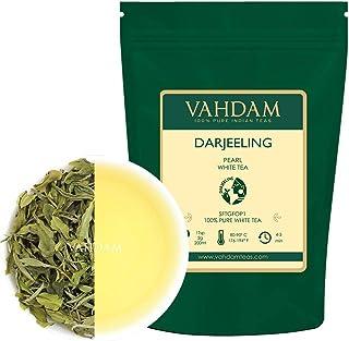 Darjeeling Pearl White Tea | Hojas sueltas de té blanco 100% puro sin mezclar | Tipo de té más saludable del mundo | Té 100% natural desintoxicante, té adelgazante, 1.76 oz (25 tazas)