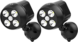 NICREW [2-Pack] Battery Powered Security Light, PIR Motion Sensor Spotlight, Weatherproof Outdoor Wall Light for Gardon Walkways, 600 Lumen, 8W (Black)