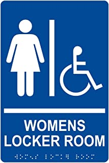 Womens Locker Room Sign, ADA-Compliant Braille and Raised Letters, 9x6 in. White on Blue Acrylic with Adhesive Mounting Strips by ComplianceSigns