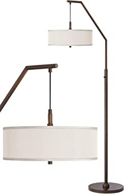 Modern Contemporary Tall Arched Floor Lamp Downbridge Oil Rubbed Bronze Cream Fabric Drum Shade Standing Pole Light for Livin
