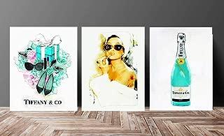 Set Fashion wall pop art print Illustration New York Audrey Hepburn Chic Glam Vogue poster on Fine Art Paper