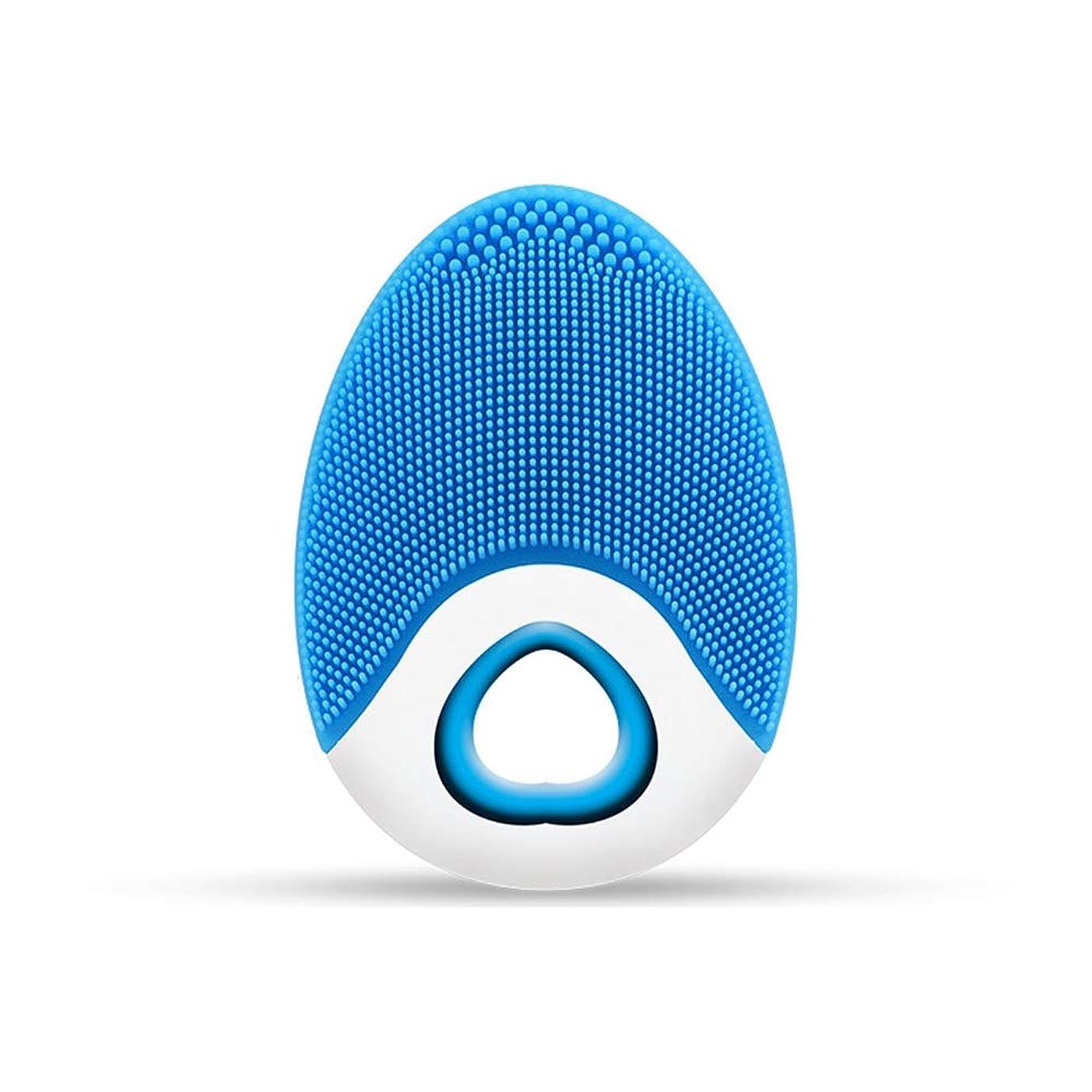 学校教育払い戻しひらめきZXF ワイヤレス充電電気シリコーンクレンジングブラシ高周波振動防水マルチレベル調整クレンジング楽器美容器具 滑らかである (色 : Blue)