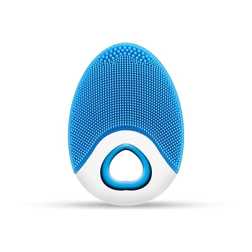 イーウェル刺す平方ZXF ワイヤレス充電電気シリコーンクレンジングブラシ高周波振動防水マルチレベル調整クレンジング楽器美容器具 滑らかである (色 : Blue)