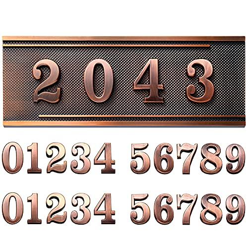 Placa de Dirección de Casa Letrero de Dirección de Plástico Placa de Número de Buzón Placa de Puerta Retro de Estilo Europeo 0-9 Placa Decorativa de Pared para Hogar (Estilo Simple)