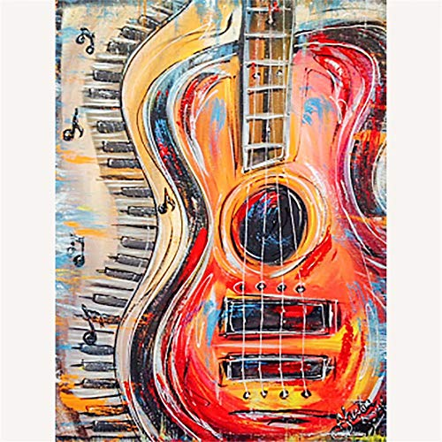 Diy Oil Painting By Numbers Kit Theme PBN Kit for Adults Girls Kids White Christmas Decor Decorations Gifts - Color Guitar(with Frame)