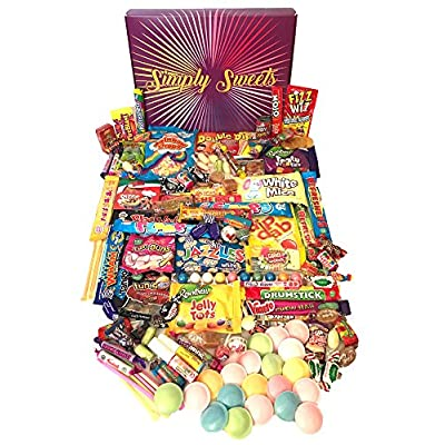 simply sweets mega retro sweet hamper gift box. packed with 128 of the best retro sweet. a perfect present for birthdays, get well soon, christmas. packed in a fun stylish unique box. Simply Sweets mega Retro Sweet Hamper Gift Box. Packed with 128 of The Best Retro Sweet. A Perfect Present for Birthdays… 614xF1WHQyL