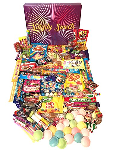 Simply Sweets mega Retro Sweet Hamper Gift Box. Packed with 128 of The Best Retro Sweet. A Perfect Present for Birthdays, Get Well Soon, Christmas. Packed in a Fun Stylish Unique Box.