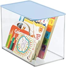 mDesign Stackable Closet Plastic Storage Bin Box with Attached Lid - Container for Organizing Child's/Kids Toys, Action Fi...