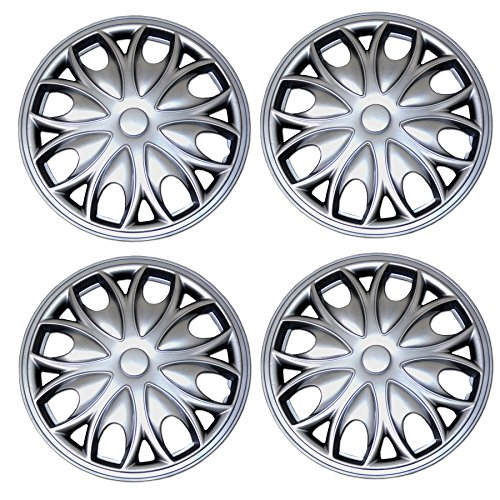 Tuningpros WC3-15-3526-S - Pack of 4 Hubcaps - 15-Inches Style Snap-On (Pop-On) Type Metallic Silver Wheel Covers Hub-caps