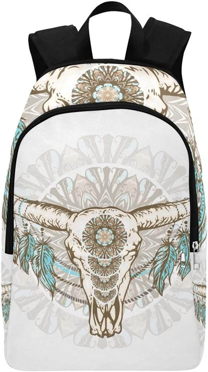 Bull Head with Flowers and Feathers Casual Daypack Travel Bag College School Backpack for Mens and Women