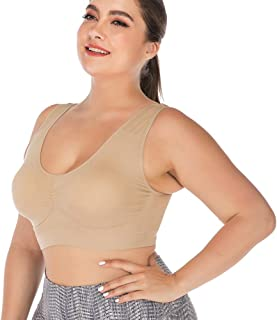 DODOING Women's Seamless Sports Bra Wire Free Comfort Sleep Bra Plus Size Workout Activity Bras with Removable Pads