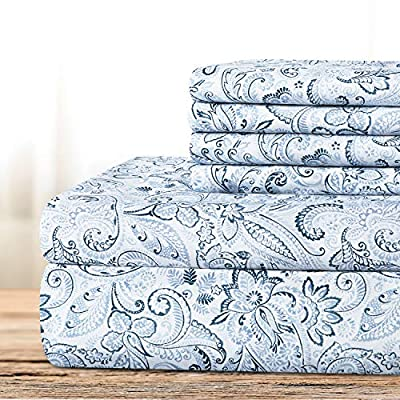 BYSURE Hotel Luxury Bed Sheets Set 6 Piece (King, Paisley-Blue) - Super Soft 1800 Thread Count 100% Microfiber Sheets with Deep Pockets, Wrinkle & Fade Resistant