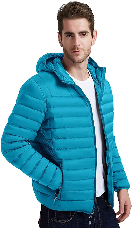Fung-wong Excellent Men's Down Jacket Puffer Windproof trust Coa Hooded Packable