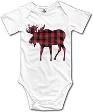 Buffalo Plaid Moose Lumberjack Style Cute Vintage Baby Creeper Bodysuit in 4 Sizes