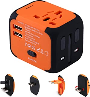 Disgian Travel Adapter,Universal World Travel Plug Adapter with Dual USB Charger. Swiss Designed for Safety Outlet. Charge iPads,Blackberrys and Other USB Devices in Over 150 Countries (Orange)