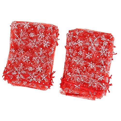 F Fityle 100pcs Bolsas de Organza Tul con Cordón Caramelo Boda Joyería - Rojo, 13 x 18cm