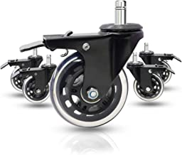 "Dr.Luck 3"" Office Chair Caster Wheels (Set of 5) - Rollerblade Style Heavy Duty & Safe for All Floors Including Hardwood w..."