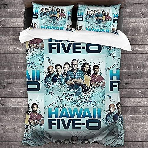 Hawaii Five-0 - Set copripiumino 135 x 200 cm, in microfibra con chiusura lampo, per bambini con copripiumino Steve McGarrett (240 x 220 cm + 50 x 75 cm x 2)
